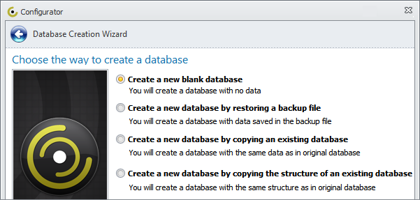 Database Software Programs: Create a New Database in CentriQS