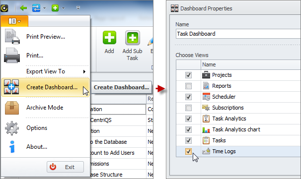task dashboard select task related views