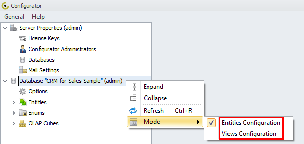 using database crm for sales sample configurator modes